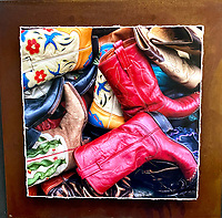 """Barrel of Boots - Mixed Media - Colorado<br /> <br /> Each unique piece is made to order. If I have the piece in stock I can ship it in 2-3 days. If I don't have it in stock and it has to be made, it will ship in 1-2 weeks. Feel free to contact me at chey.rouse@gmail.com before you order if you need the piece ASAP. <br /> <br /> The photograph is printed on a Silk photo paper, the edges of the photo are torn, photo is mounted to foam board, then I mount it to an 8""""x8"""" piece of rusted metal. The rust is unique on each piece...no two pieces are alike. PLEASE keep in mind that the rust on the piece(s) you receive may be slightly different than the photo. Each piece of metal is sealed after it is done """"rusting"""" and is titled, hand signed and, ready to hang. To see the detail for theses Mixed Media pieces please click on the 1st photo in this gallery. You will be able to see the detail of the torn paper edge as well as the back of the piece."""