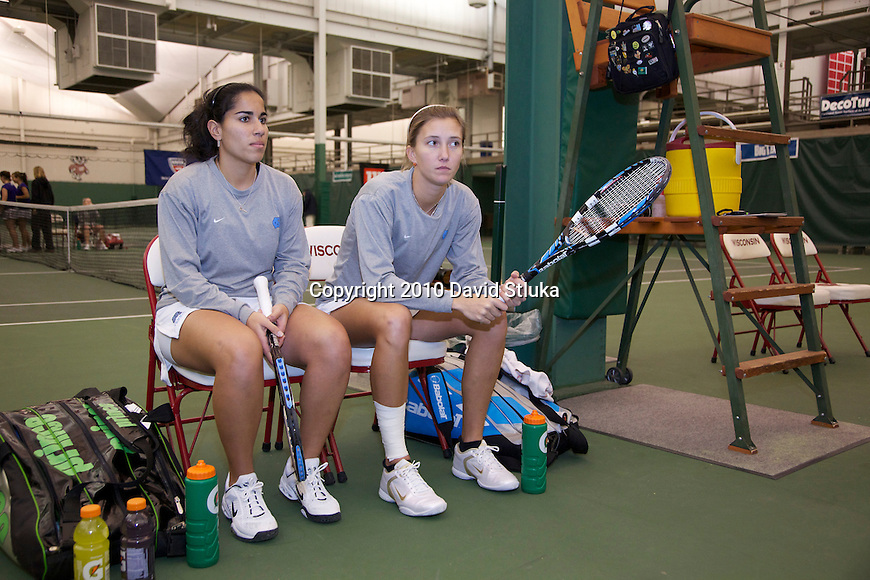 MADISON, WI - February 15: The North Carolina Tarheels teammates during the ITA Indoor Women's Tennis Championships match at the Nielsen Tennis Stadium in Madison, Wisconsin on February 15, 2010. Northwestern beat North Carolina. (Photo by David Stluka)
