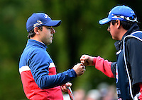 Fabrizio Zanotti of Paraguay celebrates a putt with his caddie during Round 4 of the 2015 British Masters at the Marquess Course, Woburn, in Bedfordshire, England on 11/10/15.<br /> Picture: Richard Martin-Roberts | Golffile