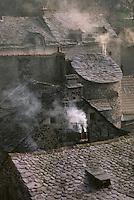 Europe/France/Auvergne/15/Cantal/Murat: vue sur les toits de lauzes de la vieille ville en hiver