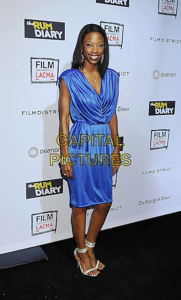 "Karimah Westbrook.arriving at the Los Angeles Premiere of ""The Rum Diary"" at LACMA in Los Angeles, California, USA, .October 13th 2011. .full length blue dress cowel neck peplum  silver ankle strap shoes .CAP/ROT/TM.©TM/Roth Stock/Capital Pictures"