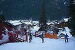 Descending Belvedere Ski Area to Canazei, Dolomites, Italy