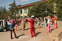 3 April 2008: The Stanford Band plays as the team departs for the Final Four and is sent off by fans and staff of the Athletic Department near Maples Pavilion in Stanford, CA.