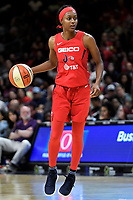 Washington, DC - June 1, 2019: Washington Mystics guard Shatori Walker-Kimbrough (32) with the ball during game between Atlanta Dream and Washington Mystics at the St. Elizabeths East Entertainment and Sports Arena (Photo by Phil Peters/Media Images International)