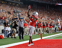 Ohio State Buckeyes running back Dontre Wilson (2) reacts after scoing a touchdown during the third quarter of Saturday's NCAA Division I football game at Ohio Stadium in Columbus on September 27, 2014. (Columbus Dispatch photo by Jonathan Quilter)