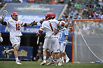 30 MAY 2016: University of Maryland celebrates against the University of North Carolina during the Division I Men's Lacrosse Championship held at Lincoln Financial Field in Philadelphia, PA. Larry French/NCAA Photos