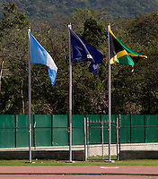 The flags of the participating countries fly over the stadium during the group stage of the CONCACAF Men's Under 17 Championship at Catherine Hall Stadium in Montego Bay, Jamaica. Jamaica defeated Guatemala, 1-0.