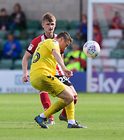 Lincoln City's Callum Connolly vies for possession with Fleetwood Town's Jordan Rossiter<br /> <br /> Photographer Chris Vaughan/CameraSport<br /> <br /> The EFL Sky Bet League One - Lincoln City v Fleetwood Town - Saturday 31st August 2019 - Sincil Bank - Lincoln<br /> <br /> World Copyright © 2019 CameraSport. All rights reserved. 43 Linden Ave. Countesthorpe. Leicester. England. LE8 5PG - Tel: +44 (0) 116 277 4147 - admin@camerasport.com - www.camerasport.com