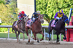 April 18, 2020: Ce Ce (14) with jockey Victor Espinoza winning a close race against Ollie's Candy (1) with jockey Joel Rosario aboard during the Apple Blossom Handicap at Oaklawn Racing Casino Resort in Hot Springs, Arkansas on April 18, 2020. Ted McClenning/Eclipse Sportswire/CSM
