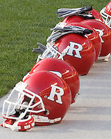 21 October 2006..Rutgers football helmets are lined up before the game. The Rutgers Scarlet Knights defeated the Pitt Panthers 20-10 on October 21, 2006 at Heinz Field, Pittsburgh, Pennsylvania.