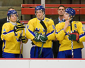 Marcus Jonsson (Sweden - 24), Dennis Everberg (Sweden - 16), Roger Rönnberg (Sweden - Head Coach), Johan Sundström (Sweden - 13) - Sweden's Under-20 team defeated the Harvard University Crimson 2-1 on Monday, November 1, 2010, at Bright Hockey Center in Cambridge, Massachusetts.