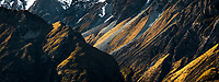 Evening light on rugged glacial valley walls, Aoraki Mount Cook National Park, UNESCO World Heritage Area, Mackenzie Country, New Zealand, NZ