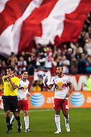 Thierry Henry (14) of the New York Red Bulls celebrates scoring. The New York Red Bulls defeated the New England Revolution 4-1 during a Major League Soccer (MLS) match at Red Bull Arena in Harrison, NJ, on March 20, 2013.