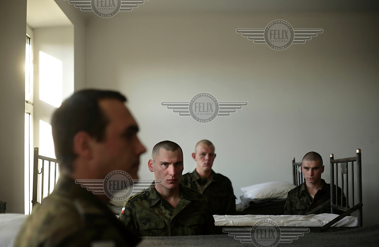 New soldiers at their quarters. This year's class of drafted recruits is the final one after 90 years of compulsory military service, as Poland's army turns professional in 2009.