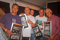 COOLANGATTA, Queensland/Australia (Monday, March 1, 2010) Tim Baker (AUS), Sean Doherty (AUS), Martin Young (AUS), Jock Serong (AUS) and photgrpaher Peter 'Joli' Wilson (AUS) recive awrds for their work in Surfing World magazine over the past years. Surfing World Magazine 300 Party..A celebration of Australia's most influential surfing icons. Photo: joliphotos.com