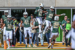 Baylor Bears celebrate during the game between the OSU Cowboys and the Baylor Bears at the McLane Stadium in Waco, Texas.