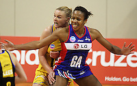 Pulse captain Cushla Lichtwark (left) marks Mystics goal attack Pamela Cookey during the ANZ Netball Championship match between the Central Pulse and Northern Mystics, TSB Bank Arena, Wellington, New Zealand on Monday, 4 May 2009. Photo: Dave Lintott / lintottphoto.co.nz