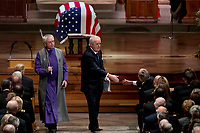 Former Canadian Prime Minister Brian Mulroney, center, shakes hands with former President George Bush, right, after speaking during the State Funeral for former President George H.W. Bush at the National Cathedral, Wednesday, Dec. 5, 2018, in Washington. <br /> CAP/MPI/RS<br /> &copy;RS/MPI/Capital Pictures