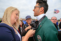 Akshay Bhatia (USA) having his tie dune up during the opening ceremony at the Walker Cup, Royal Liverpool Golf CLub, Hoylake, Cheshire, England. 06/09/2019.<br /> Picture Fran Caffrey / Golffile.ie<br /> <br /> All photo usage must carry mandatory copyright credit (© Golffile | Fran Caffrey)