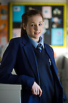 Gymnast Rebecca Tunney, who was the youngest member of Great Britain team at the 2012 London Olympic Games, pictured in a classroom at the school she has attended since September 2012, Belvedere Academy in Toxteth, Liverpool.
