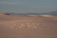 "People wrote ""Happy New Year"" in the sand at White Sands National Monument near Alamogordo, New Mexico, USA, on Sat., Dec. 30, 2017."