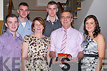HALF CENTURY: Mike Baker (Abbeydorney) celebrated his 50th birthday in Ballyroe Heights Hotel, Tralee on Saturday with his family and friends. L-r: Ger,Gary,Julie,Conor, Mike (birthday boy) and Nicola Baker (Abbeydorney).