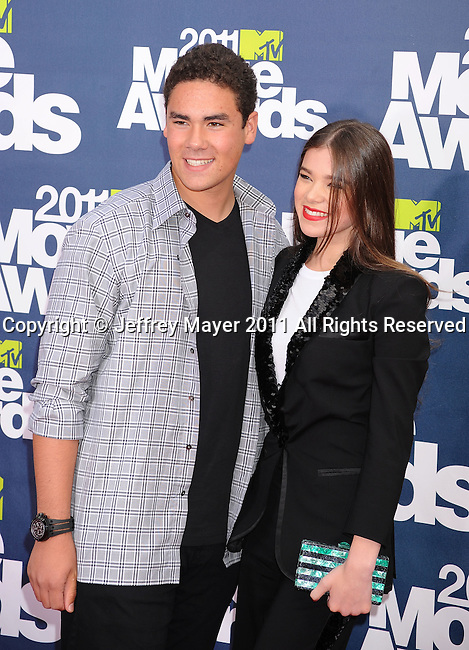 UNIVERSAL CITY, {CA} -JUNE 05: Griffin Steinfeld and Hailee Steinfeld arrive at the 2011 MTV Movie Awards at the Gibson Amphitheater on June 5, 2011 in Universal City, California.