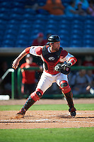 Ball State Cardinals catcher Erek Bolton (11) throws down to second to get the out during a game against the Louisville Cardinals on February 19, 2017 at Spectrum Field in Clearwater, Florida.  Louisville defeated Ball State 10-4.  (Mike Janes/Four Seam Images)