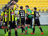 Phoenix captain Andrew Durante challenges referee Adam Kersey's sending off of Ryan Lowry during the A-League football match between Wellington Phoenix and Perth Glory at Westpac Stadium in Wellington, New Zealand on Saturday, 2 December 2018. Photo: Dave Lintott / lintottphoto.co.nz