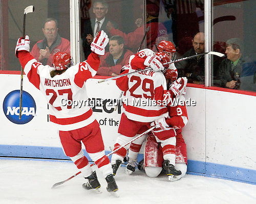 Tara Watchorn (BU - 27), Marie-Philip Poulin (BU - 29), Jenelle Kohanchuk (BU - 19), Jenn Wakefield (BU - 9) - The Boston University Terriers defeated the visiting Mercyhurst College Lakers 4-2 in their NCAA Quarterfinal matchup on Saturday, March 12, 2011, at Walter Brown Arena in Boston, Massachusetts.