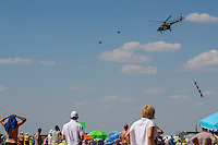 Hungarian Airforce helicopter demonstrates troop support operations during the International Air Show at the Hungarian Air Force base in Kecskemet (about 87 km South-East of the capital city Budapest), Hungary on August 03, 2013. ATTILA VOLGYI