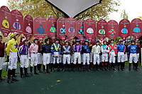 October 07, 2018, Longchamp, FRANCE - Jockey introduction before the Qatar Prix de l'Arc de Triomphe (Gr. I) at  ParisLongchamp Race Course  [Copyright (c) Sandra Scherning/Eclipse Sportswire)]