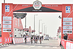 Team Dimension Data approach the finish line of Stage 1 of the 2019 UAE Tour, a team time trial running 16km around Al Hudayriat Island, Abu Dhabi, United Arab Emirates. 24th February 2019.<br /> Picture: LaPresse/Massimo Paolone | Cyclefile<br /> <br /> <br /> All photos usage must carry mandatory copyright credit (© Cyclefile | LaPresse/Massimo Paolone)