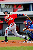 Brandon Drury #13 of the Danville Braves follows through on his swing against the Burlington Royals at Burlington Athletic Park on August 14, 2011 in Burlington, North Carolina.  The Braves defeated the Royals 10-2 in a game called by rain in the bottom of the 8th inning.   (Brian Westerholt / Four Seam Images)