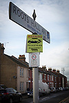 Southend United 1 Burton Albion 1, 22/02/2016. Roots Hall, League One. A road sign for Roots Hall Avenue, close to the stadium of Southend United, pictured before the club took on Burton United in a League 1 fixture at Roots Hall. Founded in 1906, Albion Southend United moved into their current ground in 1955, the construction of which was funded by the club's supporters. Southend won this match by 3-1, watched by a crowd of 6503. Photo by Colin McPherson.