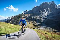 Road biking on the Swiss Alps classic Grosse Scheidegg, a pass connecting Grindelwald with Meiringen, in the Berner Oberland, Switzerland