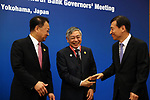 May 5, 2017, Yokohama, Japan -  Bank of Japan Governor Haruhiko Kuroda (C) shares smiles with South Korean Finance Minister Yoo Il-ho (L) and Bank of Korea Governor Lee Juyeol (R) before starting the Japan, China and South Korea trilateral finance ministers and central bank governor's meering during the Asian Development Bank (ADB) annual meeting in Yokohama, suburban Tokyo on Friday, May 5, 2017. ADB started a four-day session for its annual meeting to celebrate the 50th anniversary of the ADB.   (Photo by Yoshio Tsunoda/AFLO) LwX -ytd-