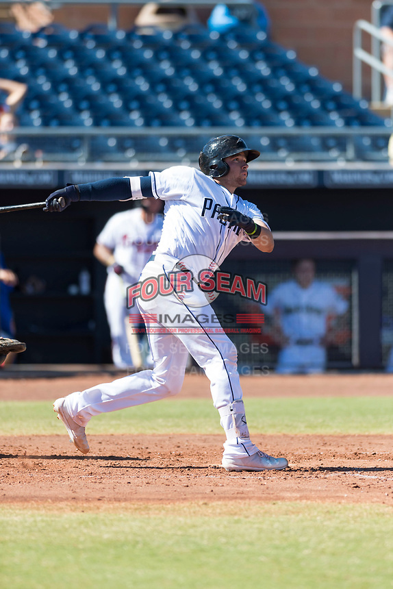 Peoria Javelinas catcher Austin Allen (24), of the San Diego Padres organization, follows through on his swing during an Arizona Fall League game against the Scottsdale Scorpions at Peoria Sports Complex on October 18, 2018 in Peoria, Arizona. Scottsdale defeated Peoria 8-0. (Zachary Lucy/Four Seam Images)