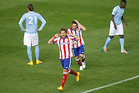 Atletico de Madrid´s Mario Cerci celebrates a goal with Koke during Champions League soccer match between Atletico de Madrid and Malmo at Vicente Calderon stadium in Madrid, Spain. October 22, 2014. (ALTERPHOTOS/Victor Blanco)