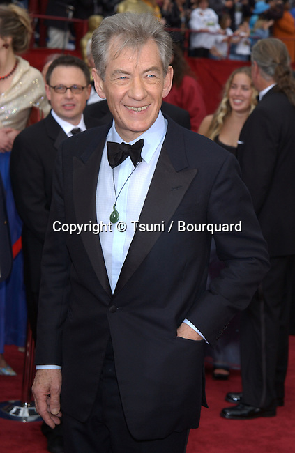 """Sir Ian McKellen, nominated for supporting actor for """"The Lord of the Rings: The Fellowship of the Ring,"""" at the 74th Annual Academy Awards at the Kodak Theatre in Hollywood Sunday, March 24, 2002.           -            McKellanIan006.jpg"""