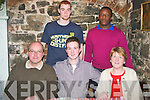 HAPPY 21ST : Sean Byrne, Carrigeendaniel, Tralee (seated between his parents Larry and Breda) celebrated his 21st birthday last Saturday night in Finnegan's restaurant, Denny St, Tralee also pictured standing is Barry Keane (lt) and Mousa Tshikota.