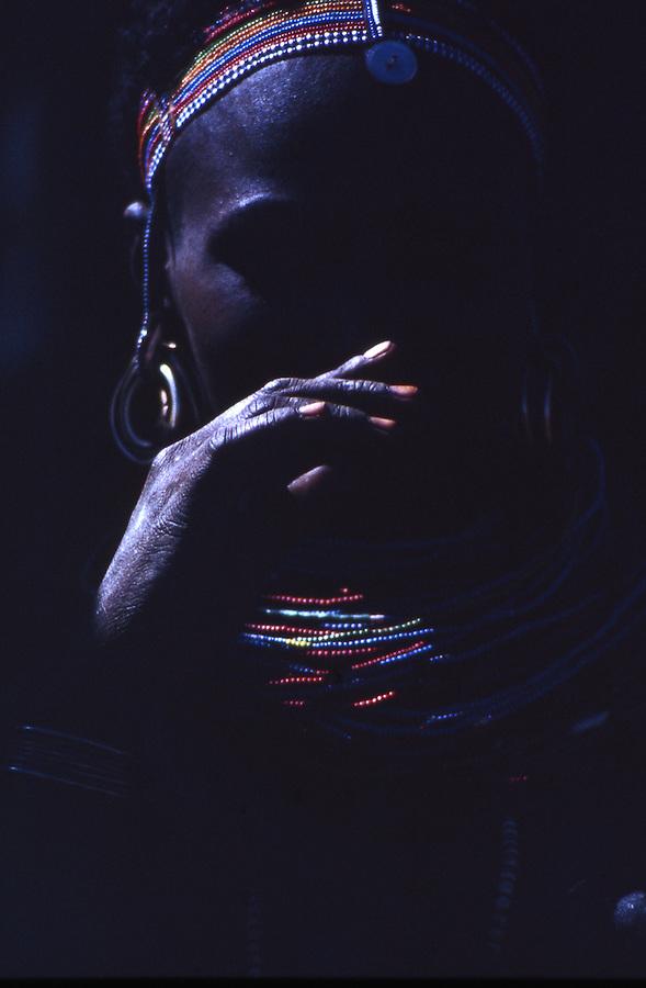 Samburu woman with beads in Kenya.