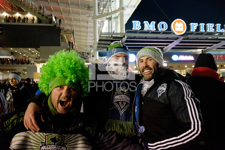 Toronto, ON, Canada - Saturday Dec. 10, 2016: Seattle Sounders FC fans prior to the MLS Cup finals at BMO Field. The Seattle Sounders FC defeated Toronto FC on penalty kicks after playing a scoreless game.