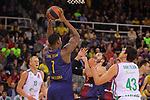 Turkish Airlines Euroleague 2017/2018.<br /> Regular Season - Round 13.<br /> FC Barcelona Lassa vs Unicaja Malaga: 83-90.<br /> Kevin Seraphin vs Carlos Suarez.