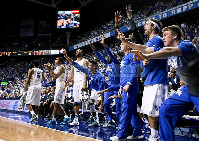 The Kentucky bench erupts after a three point shot during the second half of the University of Kentucky vs. Arkansas at Rupp Arena in Lexington , Ky., on Saturday, February 28, 2015. Photo by Jonathan Krueger | Staff