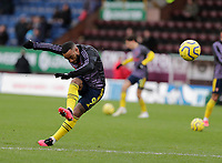 2nd February 2020; Turf Moor, Burnley, Lanchashire, England; English Premier League Football, Burnley versus Arsenal; Alexandre Lacazette of Arsenal warms up - Strictly Editorial Use Only. No use with unauthorized audio, video, data, fixture lists, club/league logos or 'live' services. Online in-match use limited to 120 images, no video emulation. No use in betting, games or single club/league/player publications
