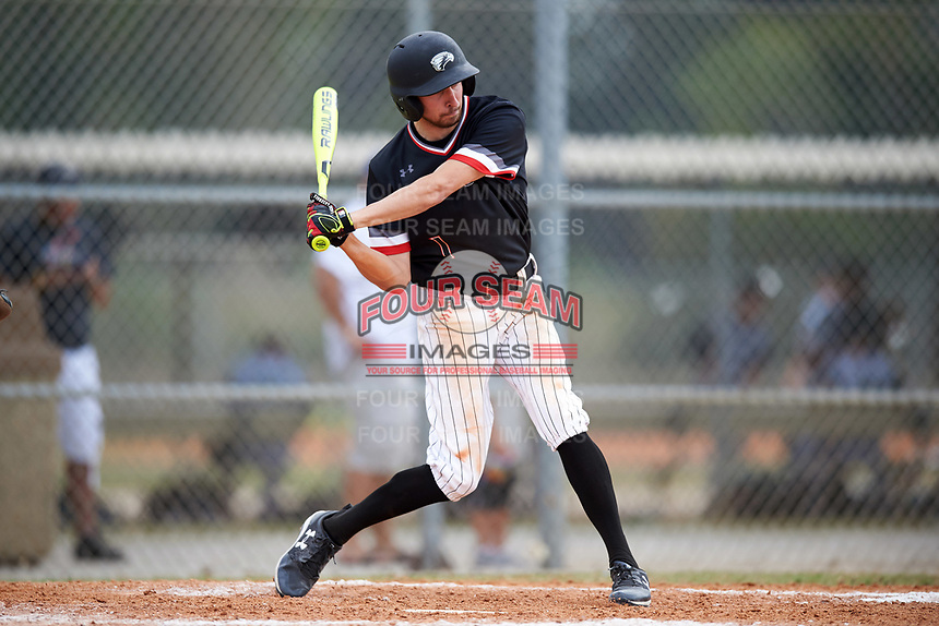 Edgewood College Eagles Bryan Sternig (1) at bat during the first game of a doubleheader against Western Connecticut Colonials on March 13, 2017 at the Lee County Player Development Complex in Fort Myers, Florida.  Edgewood defeated Western Connecticut 3-0.  (Mike Janes/Four Seam Images)