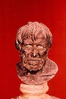 Greek Art:  Bronze Bust--supposedly Seneca. National Museum, Naples.