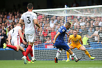 Mateo Kovacic of Chelsea misses a great opportunity to increase their lead as he screws the ball wide of the Sheffield United goal during Chelsea vs Sheffield United, Premier League Football at Stamford Bridge on 31st August 2019