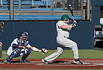 February 24, 2012:    Utah Valley Wolverines Austin Heaps bats against the Nevada Wolf Pack during  their NCAA baseball game played at Peccole Park on Friday afternoon in Reno, Nevada.